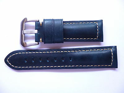 24mm Watch Strap Band with buckle - 24/22mm Blue Leather Panerai Style
