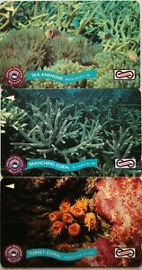 Malaysia-Used-Phone-Cards-3-pcs-Coral