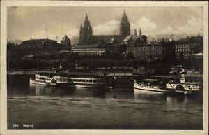Rhein-Schiff-Schiffe-Partie-in-MAINZ-Hafen-Anlegestelle-Dampfer-alte-AK-1930