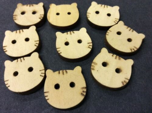 Cat visage boutons en bois Pk 10 Z06