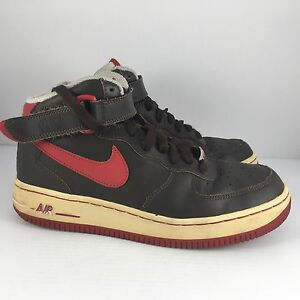 3081f9145d Nike Air Force 25 XXV Mid Kids US 5.5Y Brown + Red Basketball Shoes ...