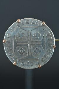 CRUZADO-200-REIS-Joseph-I-Silver-Coin-Portugal-coin-silver-mounted-in-brooch