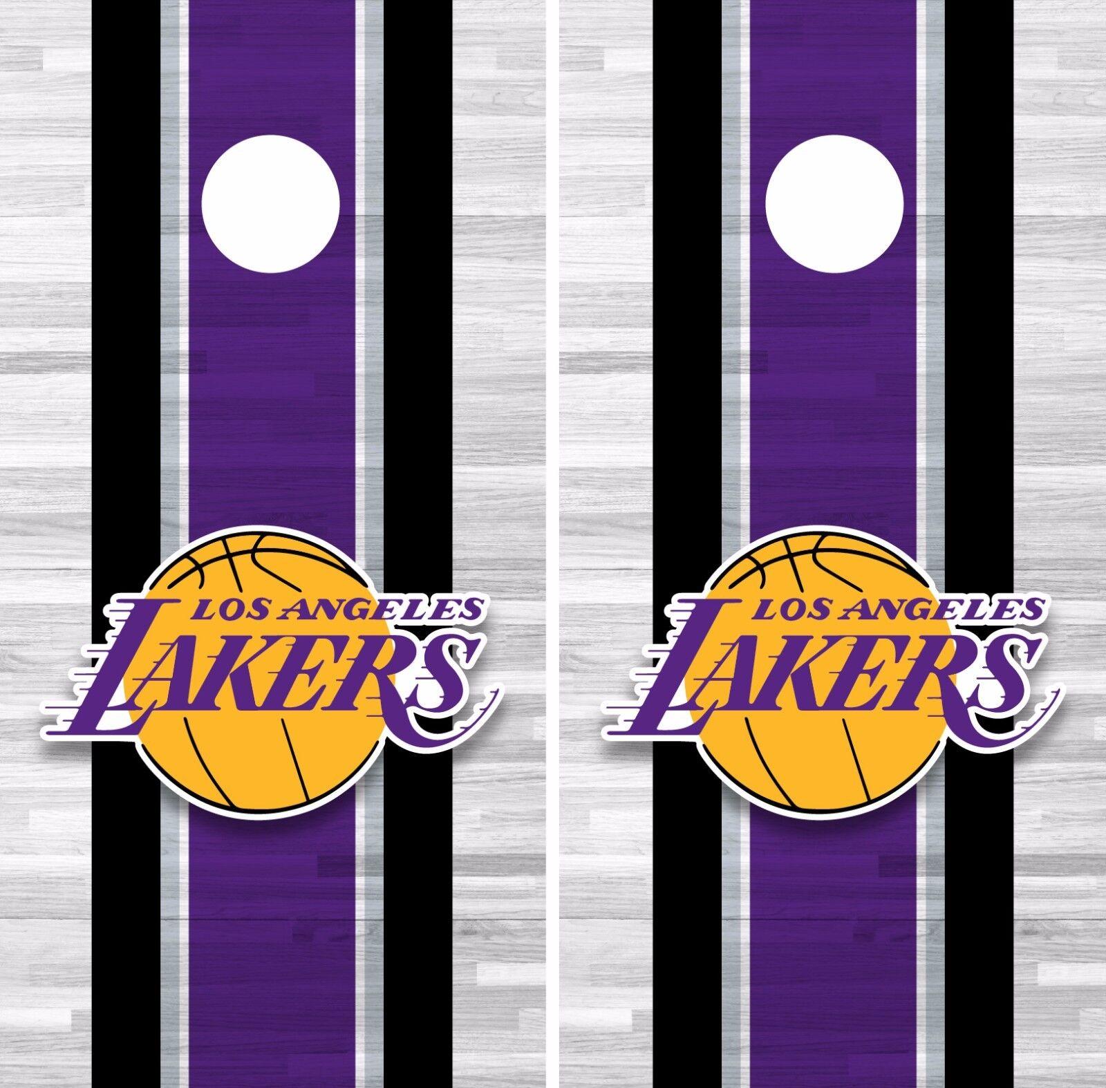 Los Angeles Lakers Cornhole Skin Wrap NBA Basketball Team colors Art Vinyl DR291
