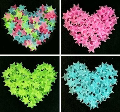 100X 3D Stars Glow In The Dark Wall Stickers pour Enfants Chambre à Coucher Plafond Home Decor
