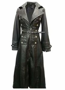 Ladies Full Jacket Goth 3490 Black Lambskin Leather Coat length Soft Classic HXX4qUSr