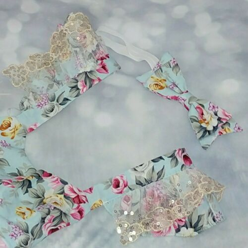 baby girl first 1st birthday outfit cake smash photo shoot Floral Bow Headband
