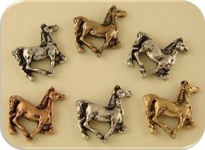 2 Hole Beads Horse Pony Canter/Trot~Eq<wbr/>uestrienne~Wes<wbr/>tern~Cowboy 3T Metal ~ QTY 6