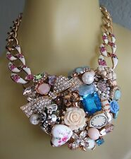 BETSEY JOHNSON ROSE GOLD LARGE VINTAGE HEART COLLAGE STATEMENT NECKLACE~NWT~RARE