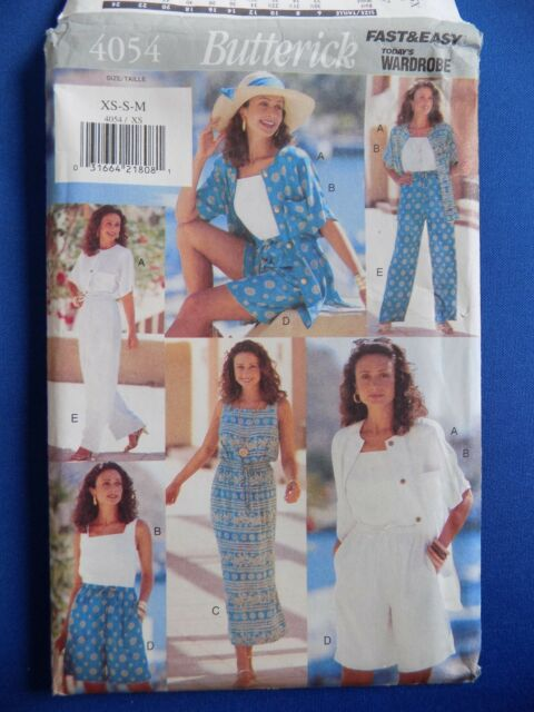 Misses Petite Top Dress Shorts Pants Butterick Sewing Pattern 4054 Size XS-S-M