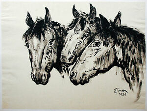 Paul-Gross-1873-1942-3-Pferde-Tusche-1931-Neue-Sachlichkeit-44-x-58-cm-Tiere-Pfe