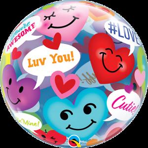 """Conversation Smiley Cœurs 22/"""" Qualatex Bulle Ballon"""
