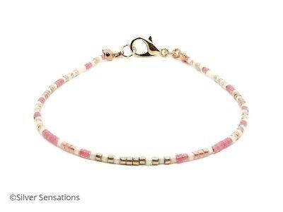 Dainty Pink Cream /& Rose Gold Seed Bead Minimalist Friendship Bracelet Anklet