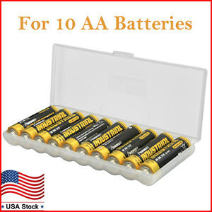 Details About Battery Storage Case For AA Batteries Plastic Battery Box  Holder Organizer 2PK