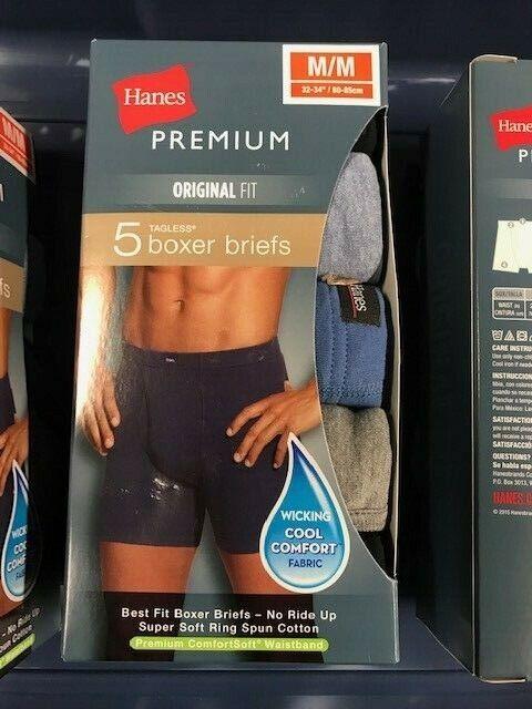Hanes Men/'s Boxer Briefs Medium 32-34 5 Pack Black Blue Gray Lime Fresh IQ New