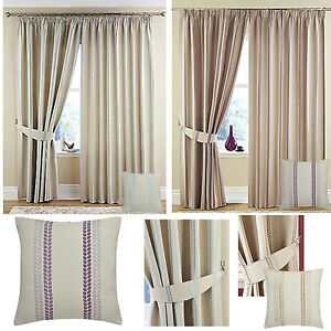 Darwin Lined Curtains Cream Stripe Detail Blue Silver Natural Or Pink Purple Ebay