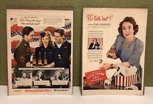 2-Vintage-Royal-Crown-RC-Cola-Ad-Prints-Rita-Hayworth-Joan-Crawford