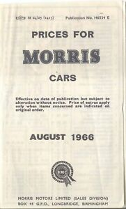 Morris Uk Price List 1966 Mini Minor 1100 Oxford Vanden Plas 1100