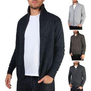 Mens-Wool-Jumper-Winter-Sweater-Zip-Up-Funnel-Neck-Soft-Knit-Cardigan-Top