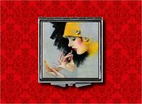 Flapper Pin Up Girl Vintage Art Deco Makeup Pocket Compact Mirror