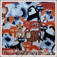 BonEful Fabric FQ Cotton Quilt B&W Tabby Siamese Kitty Cat Orange S Tiger Stripe