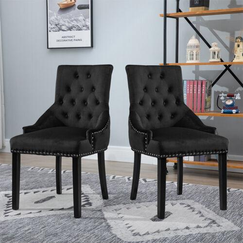 1/2/3/4x Accent Knocker Velvet Fabric Dining Chairs Studded Upholstered Armchair Black,Blue,Dark Grey,Grey