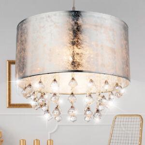 Details zu Pendel Lampe Hänge Leuchte Schlafzimmer Textil Kristall Behang  Decken Strahler