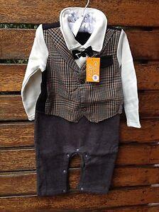 Baby-Boys-Kids-Bowtie-Pageboy-Wedding-Party-Photography-BodySuits-Vest-Romper