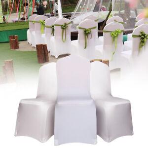 100pcs Blanc housses spandex lycra chair cover wedding banquet fête Décoration