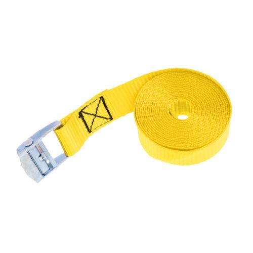 25mm 2.5m Metal Cam Buckle Tie Down Lashing Strap Roof Racks Trailers Yellow