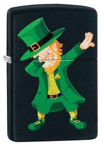 Zippo-Dabbing-Leprechaun-Design-Black-Matte-Windproof-Pocket-Lighter-49124