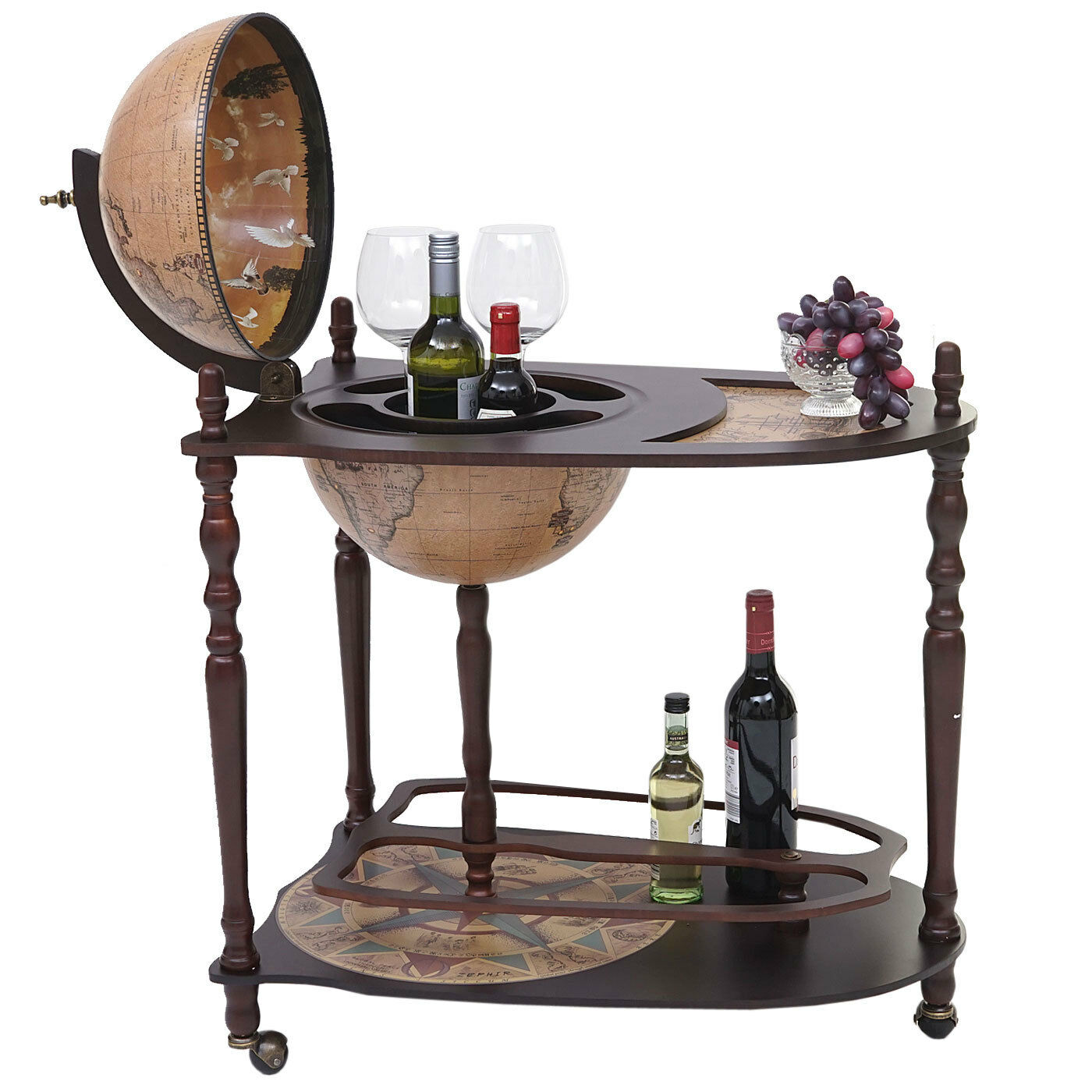 Globusbar avec table hwc-t875, mini bar Placard à alcool T', globe terrestre roulant le bois d'eucalyptus