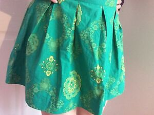 38ad502c49 Boho Festival Bright Lime Green Floral Zip Back Pleated Short Skirt ...