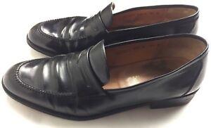 SALVATORE-FERRAGAMO-Black-Leather-Men-039-s-Penny-Loafers-Shoes-SZ-9-5-d