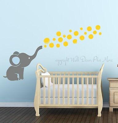 Elephant Blowing Floating Bubbles Wall Decal Sticker Art Vinyl Nursery Decor New Ebay