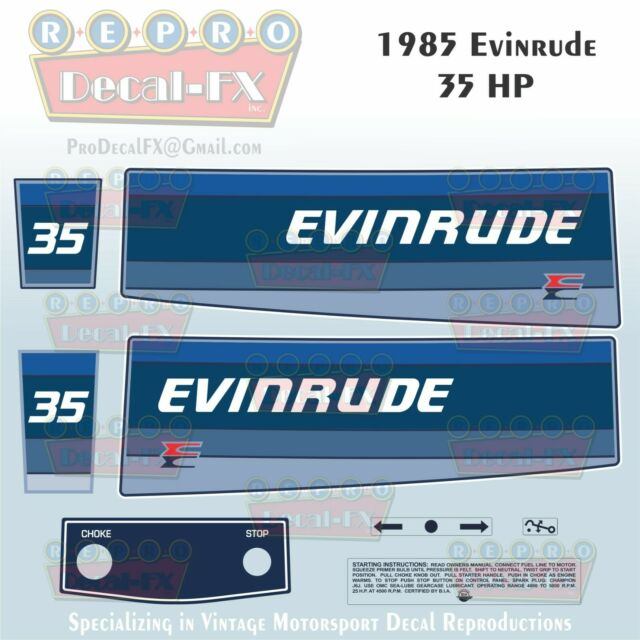 1985 Evinrude 35 HP Outboard Reproduction 8 Piece Marine Vinyl Decals 35RCO
