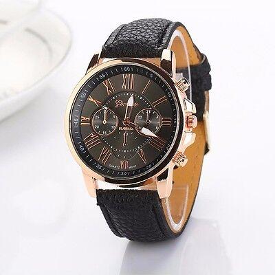 Women Fashion Geneva Roman Numerals Faux Leather Band Analog Quartz Wrist Watch
