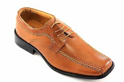 La Milano Boys Tan Genuine Leather Oxford Dress Shoes Style# AT2282