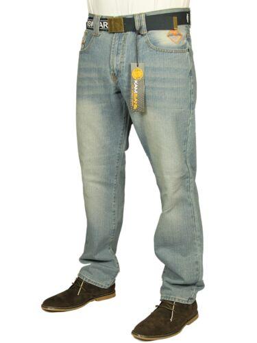 BNWT Da Uomo Kam Slim Fit Straight Leg Jeans 3 COLORI 30-40 cintura gratuita inclusa