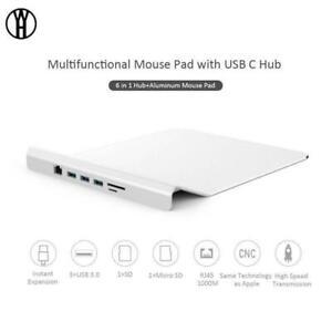 Multifunctional Mouse Pad with USB C hub Slim Aluminum Alloy