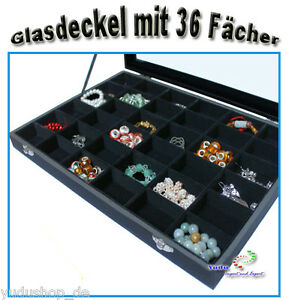 Jewelery-Tray-Showcase-Sorting-Box-with-Glass-Lid-36-Compartments-Black