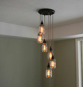 6 strand spiral mason jar chandelier on 12 oil rubbed bronze canopy image is loading 6 strand spiral mason jar chandelier on 12 aloadofball Images