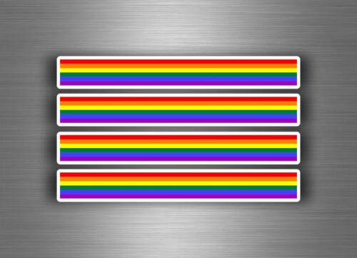 4x Autocollant sticker voiture moto stripes drapeau tuning arc en ciel rainbow