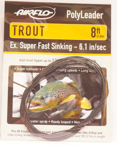 AIRFLO Polyleader TROUT 8ft / 2,40Mtr. EXTRA SUPER FAST SINKING