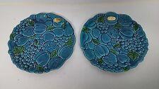 2 Inarco Mood Indigo Blue Ceramic Dinner Plates Vintage Japan Mid Century RARE