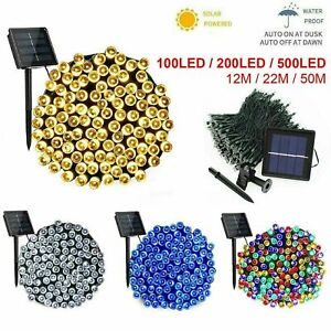Waterproof-Outdoor-Solar-Fairy-Lights-100-500-LED-Warm-White-Christmas-Tree-LEDS