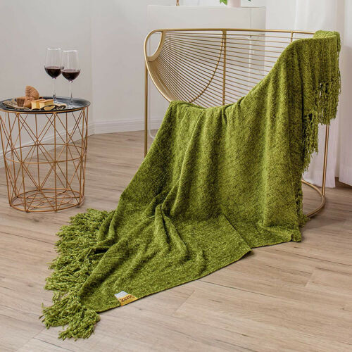 Home Luxury Chenille Woven Knitted Throw Blanket Couch Camping Olive Green 60x50
