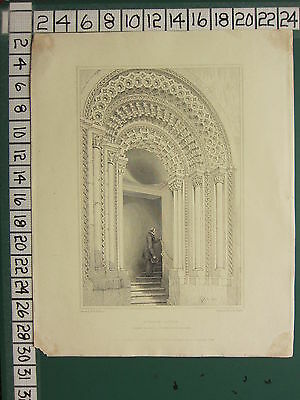 1844 Dated Antique Print ~ Durham Castle Norman Doorway Lower Gallery Billings Art