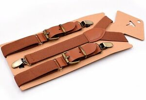 Tan-Brown-Elastic-Leather-Suspenders-Braces-For-all-ages
