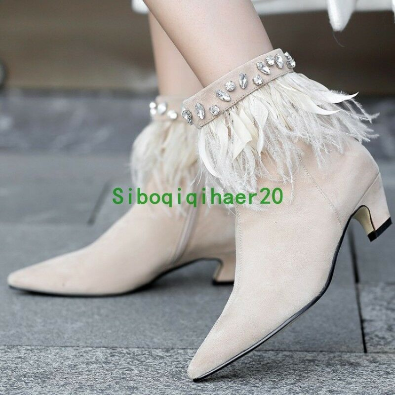 Occident Womens Suede Pointy Toe Kitten Heel Rhinestone Ankel Boots Feather SIBO