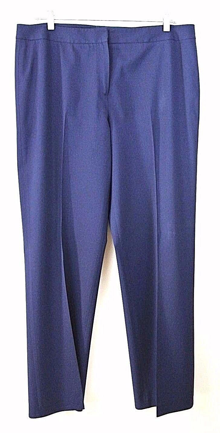 LAFAYETTE 148 Pant 16 Wool Blend wide leg Straight Dress pant womens Navy bluee